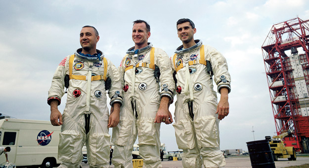 The crew of Apollo 1 (L to R): Gus Grissom, Ed White, and Roger Chaffee