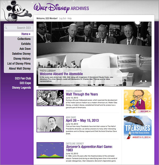 The Walt Disney Archives section of D23