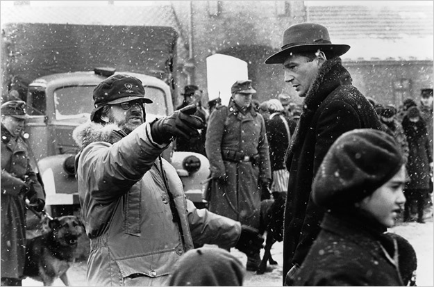 Steven Spielberg on the set of Schindler's List
