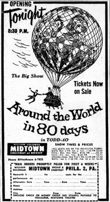 Newspaper ad for Around the World in 80 Days