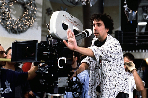 Director Tim Burton on the set of Batman Returns