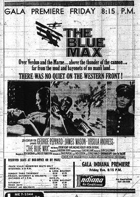 The Blue Max - Indiana Premiere Newspaper Ad