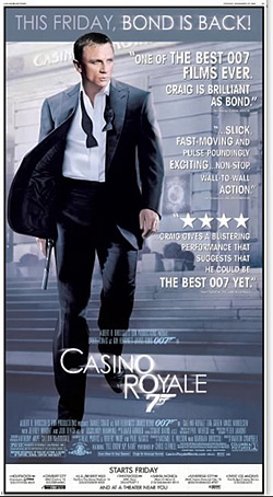 A newspaper ad for Casino Royale in theaters