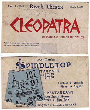 Tickets for Cleopatra and the Rivoli