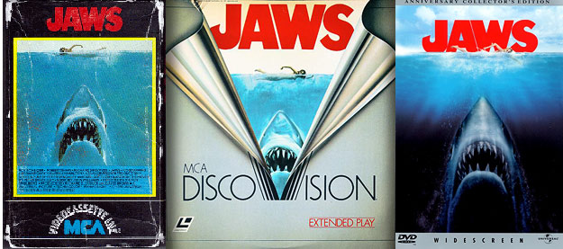 Jaws on VHS, DiscoVision & DVD