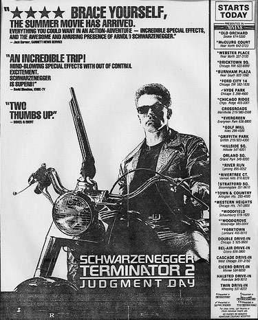 Terminator 2 newspaper ad